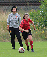 20200627 - TUBIZE , Belgium : Marie Detruyer is in action under the watchful eyes of head coach Tamara Cassimonsp during a training session of the Belgian Red Flames U17, on the 27 th of June 2020 in Tubize.  PHOTO SEVIL OKTEM| SPORTPIX.BE