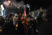 Galatasaray soccer fans demonstrate on Istiklal Street, a main pedestrian thoroughfair in the Beyoglu neighborhood, after a match in Istanbul, Turkey on December 21, 2011.