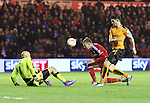 Jordan Rhodes of Middlesbrough going beyond Nouha Dicko of Wolverhampton Wanderers to head to ball towards Wolverhampton Wanderers goalkeeper Carl Ikeme - Sky Bet Championship - Middlesbrough vs Wolverhampton Wanderers - Riverside Stadium - Middlesbrough - England - 4th of March 2016 - Picture Jamie Tyerman/Sportimage