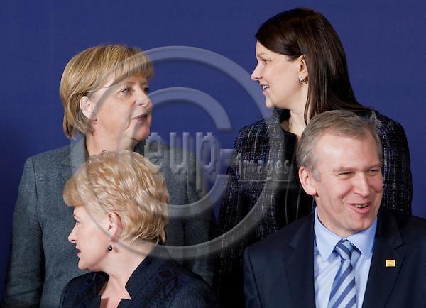 BRUSSELS - BELGIUM - 28 OCTOBER 2010 --  EU Summit hosted by the Belgian presidency. -- Dalia GRYBAUSKAITE, President of Lithuania, Angela MERKEL, Federal Chancellor of Germany, Mari KIVINIEMI, Prime Minister of Finland and Yves LETERME, Prime Minister of  Belgium. -- PHOTO: Juha ROININEN / EUP-Images