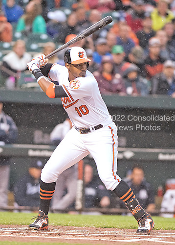 Baltimore Orioles center fielder Adam Jones (10) bats against the New York Yankees at Oriole Park at Camden Yards in Baltimore, MD on Tuesday, April 14, 2015. <br /> Credit: Ron Sachs / CNP