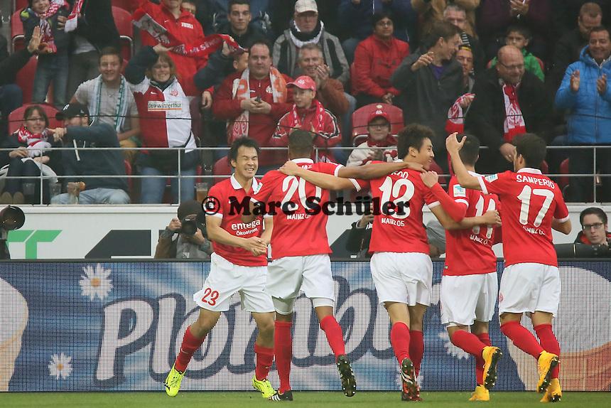 Torjubel um Shinji Okazaki (Mainz) beim 1:0 - 1. FSV Mainz 05 vs. SV Werder Bremenl, Coface Arena