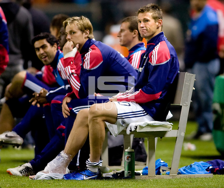 Chicago Fire forward and captain Brian McBride (20) rests on the bench with an ice pack on his right foot after exiting the game for the last time of his illustrious career. The Chicago Fire defeated CD Chivas USA 3-1 at Home Depot Center stadium in Carson, California on Saturday October 23, 2010.