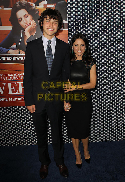Charles Hall, Julia Louis-Dreyfus .Los Angeles Premiere for the second season of HBO's series VEEP Held At Paramount Studios, Los Angeles, California, USA.  .April 9th, 2013.full length black  leather suit white shirt maroon tie  dress son father dad mother mom mum family hand on hip.CAP/ADM/KB.©Kevan Brooks/AdMedia/Capital Pictures.