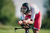Iakov Gusev (RUS) seems to be a bit of a Star Wars fan...<br /> <br /> MEN JUNIOR INDIVIDUAL TIME TRIAL<br /> Hall-Wattens to Innsbruck: 27.8 km<br /> <br /> UCI 2018 Road World Championships<br /> Innsbruck - Tirol / Austria