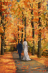 Illustrative image of newly wedded couple walking on narrow road in autumn