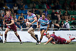UBB Gavekal (in red) vs Natixis HKFC (in blue stripes) during GFI HKFC Rugby Tens 2016 on 07 April 2016 at Hong Kong Football Club in Hong Kong, China. Photo by Juan Manuel Serrano / Power Sport Images