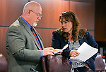 Nevada Assemblyman Randy Kirner, R-Reno, and Minority Leader Marilyn Kirkpatrick, D-North Las Vegas, work in a committee meeting in the final hours of the Legislative session in Carson City, Nev., on Monday, June 1, 2015.<br /> Photo by Cathleen Allison