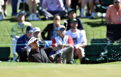 07.04.2016. Augusta, GA, USA. Vijay Singh plays a shot from a bunker on the second hole during the first round of the Masters Golf Tournament on Thursday, April 7, 2016, at Augusta National Golf Club in Augusta, Ga