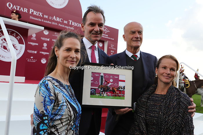October 06, 2019, Longchamp, FRANCE -  The owners of Waldgeist,  Andreas Jacobs (left) and Dietrich von Boetticher (right) after winning the Qatar Prix de l'Arc de Triomphe (Gr. I) at  ParisLongchamp Race Course  [Copyright (c) Sandra Scherning/Eclipse Sportswire)]