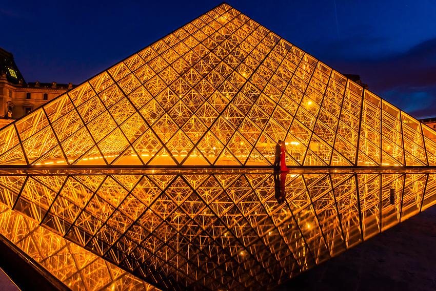 France-Paris-Louvre Museum & Pyramid