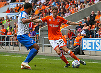 Blackpool's Joe Bunney takes on Portsmouth's Anton Walkes<br /> <br /> Photographer Alex Dodd/CameraSport<br /> <br /> The EFL Sky Bet League One - Blackpool v Portsmouth - Saturday August 11th 2018 - Bloomfield Road - Blackpool<br /> <br /> World Copyright &copy; 2018 CameraSport. All rights reserved. 43 Linden Ave. Countesthorpe. Leicester. England. LE8 5PG - Tel: +44 (0) 116 277 4147 - admin@camerasport.com - www.camerasport.com