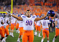 Jan. 4, 2010; Glendale, AZ, USA; Boise State Broncos defensive tackle (90) Billy Winn against the TCU Horned Frogs in the 2010 Fiesta Bowl at University of Phoenix Stadium. Boise State defeated TCU 17-10. Mandatory Credit: Mark J. Rebilas-