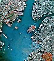 historical infrared aerial photograph of New York Harbor, 1997