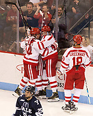 Bobo Carpenter (BU - 14), Shane Switzer (BU - 2) The Boston University Terriers defeated the visiting Yale University Bulldogs 5-2 on Tuesday, December 13, 2016, at the Agganis Arena in Boston, Massachusetts.