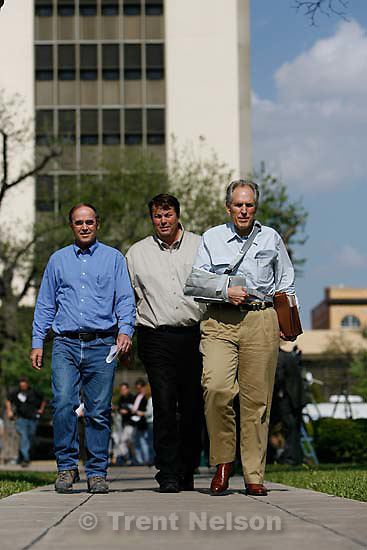 """San Angelo -  A hearing at the 51st District Court Wednesday, April 9, 2008, where a judge ruled three members of the FLDS polygamous sect have the legal right to challenge the massive search underway on their property near Eldorado, the YFZ """"Yearning for Zion"""" Ranch.; 04.09.2008 Richard Wright, Willie Jessop"""