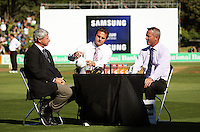 Sky TV's Simon Doull (centre) and Mark Richardson chat with NZ cricketing great Sir Richard Hadlee at tea during day one of the 3rd test between the New Zealand Black Caps and India at Allied Prime Basin Reserve, Wellington, New Zealand on Friday, 3 April 2009. Photo: Dave Lintott / lintottphoto.co.nz