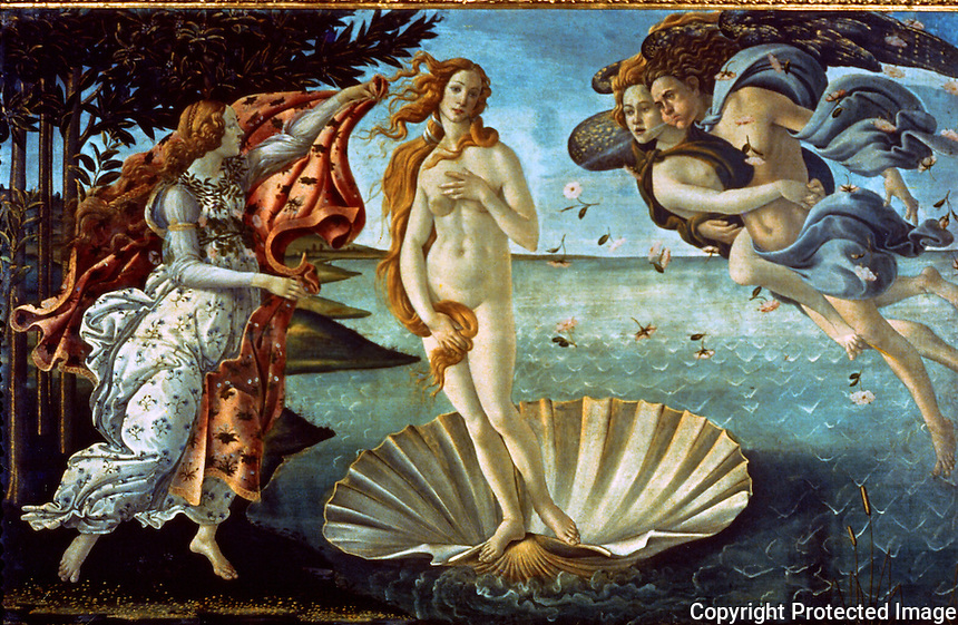 Renaissance Art:  Botticelli--Birth of Venus.  Gallery Uffizi.