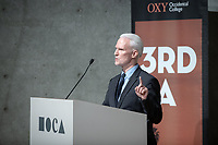 "Klaus Biesenbach, The Maurice Marciano Director of MOCA Los Angeles<br /> Occidental College's 3rd LA (Re)Designing LA series continues in the Ahmanson Auditorium at The Museum of Contemporary Art (MOCA) on March 27, 2019. Hosted by Oxy Professor of Practice and Chief Design Officer for the City of Los Angeles Christopher Hawthorne, guest speakers and panelists discussed ""Strange Beauty: Making Sense of L.A. Architecture from the 1980s and 1990s.""<br /> 3rd LA is co-sponsored by Occidental, the Mayor's Office and the Los Angeles Department of Cultural Affairs.<br /> (Photo by Marc Campos, Occidental College Photographer)"