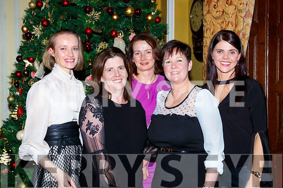 Killarney friends l-r: Melissa Culloty, Mairead Kelly, Fiona Landers, Claire O'Mahony and Debra Daly who had their annual Christmas reunion in the Cahernane House Hotel on Friday night