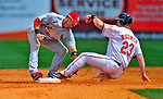 13 March 2009: St. Louis Cardinals' infielder Skip Schumaker gets Ty Wigginton out at second in an attempted tag up play from first during a Spring Training game against the Baltimore Orioles at Fort Lauderdale Stadium in Fort Lauderdale, Florida. The Cardinals defeated the Orioles 6-5 in the Grapefruit League matchup. Mandatory Photo Credit: Ed Wolfstein Photo