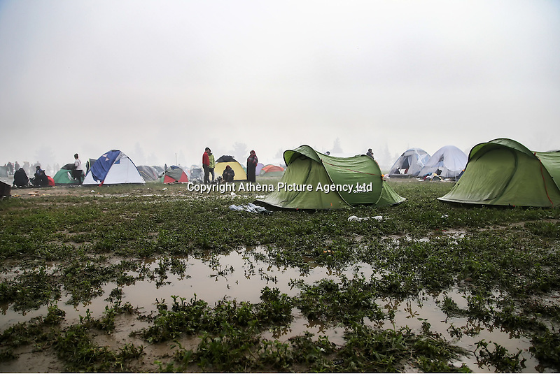 Pictured: The flooded field in the camp Tuesday 08 March 2016<br /> Re: Heavy overnight rain has flooded the migrant camp at the Greek FYRO Macedonian border of Idomeni in Greece