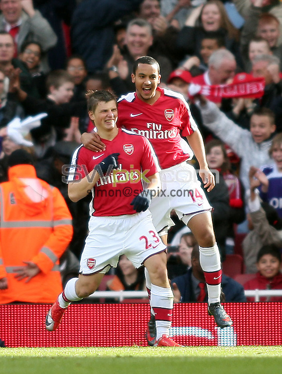 PICTURE BY JEREMY RATA/SWPIX.COM. Barclays Premier League 2008/9 - Arsenal v Blackburn Rovers, Emirates Stadium, London, England. 14th March 2009. Arsenal's Andrey Arshavin and Theo Walcott celebrate the opening goal..Copyright - Simon Wilkinson - 07811267706