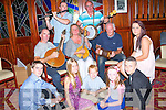 ENTERTAINMENT: Loacl Ceilí Group entertaining some of the brosnan Clan at the East Kerry Roots Festival & Gathering of the Brosnan Clan and the Festival Banquest in the river Island Hotel, Castleisland on Saturday evening. Seated on floor from Castleisland Road-Tralee, Cian and Erika Greenwood, Liam, Emily, Michael and Michelle Brosnan, musicians PJ Teahan, Mike Rice, Mary Flawlesss, Thomas O'Connell and Charlie Nelligan.