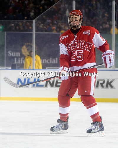 Colby Cohen (BU - 25) - The Boston University Terriers defeated the Boston College Eagles 3-2 on Friday, January 8, 2010, at Fenway Park in Boston, Massachusetts, as part of the Sun Life Frozen Fenway doubleheader.