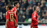 FUSSBALL   1. BUNDESLIGA   SAISON 2011/2012   32. SPIELTAG SV Werder Bremen - FC Bayern Muenchen               21.04.2012 Rafinha (li) Mario Gomez (Mitte) und Franck Ribery (re, alle FC Bayern Muenchen)