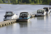 Motorboats at marina in Berthierville along the Saint Lawrence river