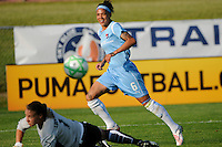 Natasha Kai (6) of Sky Blue FC watches a shot bounce of the cross bar. Sky Blue FC defeated the Boston Breakers 2-1 during a Women's Professional Soccer match at Yurcak Field in Piscataway, NJ, on May 31, 2009.