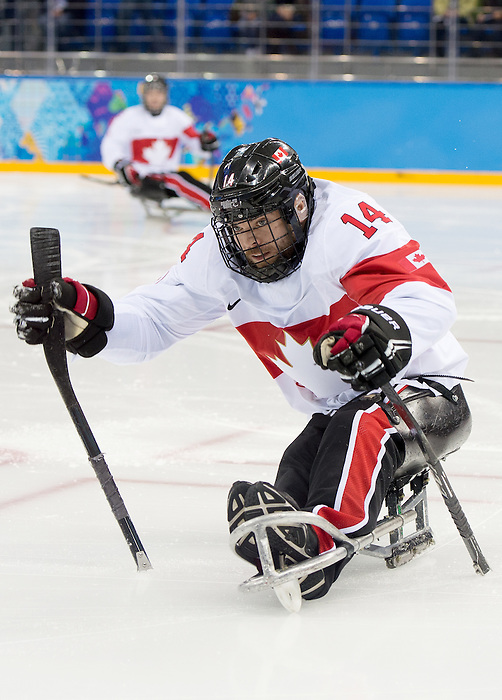 Sochi, RUSSIA - Mar 11 2014 -  Steve Arsenault as Canada takes on Czech Republic in Sledge Hockey at the 2014 Paralympic Winter Games in Sochi, Russia.  (Photo: Matthew Murnaghan/Canadian Paralympic Committee)