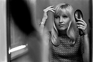 October 20, 1966. Manhattan, NYC. Ulla Thorsell in the dressing room at the CBS Television Studio.