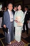 December 17, 2013, Tokyo, Japan - Member of House of Represetatives Seiko Noda (R), and the13th grand master of the Enshu Sado School Sojitsu Kobori at the 2013 Miss International beauty pageant, Tokyo, Japan, 17 Dec. (Photo by Motoo Naka/AFLO)