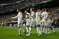 Real Madrid´s Karim Benzema, Toni Kroos, Marcelo Vieira, Nacho Fernandez, Raphael Varane and Isco celebrates a goal during 2014-15 La Liga match between Real Madrid and Deportivo de la Coruna at Santiago Bernabeu stadium in Madrid, Spain. February 14, 2015. (ALTERPHOTOS/Luis Fernandez) /NORTEphoto.com