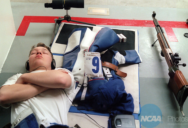 Caption: 8 MAR 1997: Beau Nicewanner of the United States Air Force Academy meditates before competition during the Division 1 Men's and Women's Rifle Championship held at Murray State University in Murray, KY. Nicewanner ranked 16th overall in the smallbore standings. Alex Jennings/NCAA Photos.
