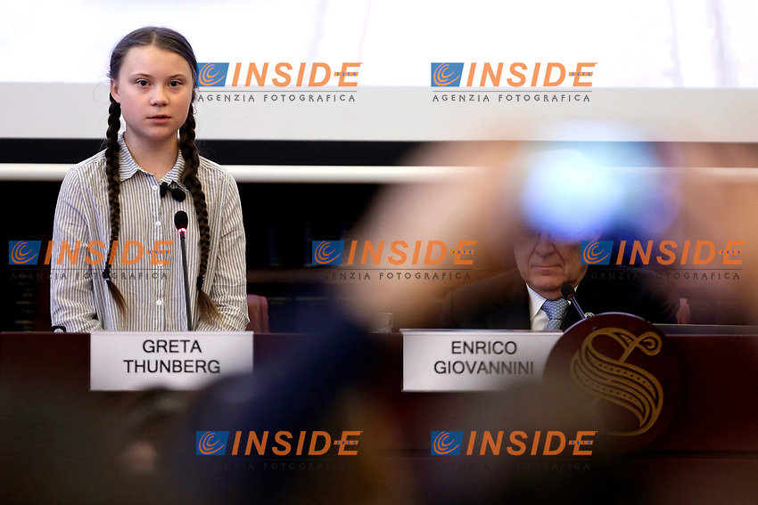 Greta Thunberg<br /> Rome April 18th 2019. Teen climate activist Greta Thunberg takes part in a seminar on climate at the Italian Senate.<br /> photo di Samantha Zucchi/Insidefoto