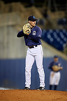 Lake County Captains relief pitcher Jonathan Teaney (16) gets ready to deliver a pitch during the second game of a doubleheader against the South Bend Cubs on May 16, 2018 at Classic Park in Eastlake, Ohio.  Lake County defeated South Bend 5-2.  (Mike Janes/Four Seam Images)