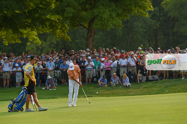 Rickie Fowler (USA) chips on to 18 during 4th round of the 100th PGA Championship at Bellerive Country Club, St. Louis, Missouri. 8/12/2018.<br /> Picture: Golffile | Ken Murray<br /> <br /> All photo usage must carry mandatory copyright credit (© Golffile | Ken Murray)