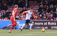 Jack Marriott of Luton Town makes a run down the wing during the Sky Bet League 2 match between York City and Luton Town at Bootham Crescent, York, England on 27 February 2016. Photo by Liam Smith.