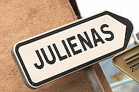 road sign julienas beaujolais burgundy france