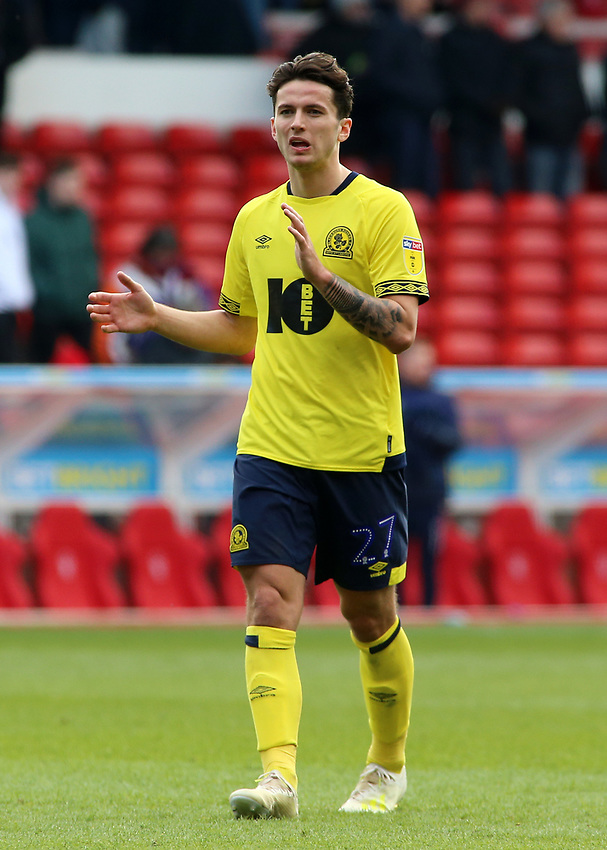Blackburn Rovers' Lewis Travis applauds the fans at the final whistle <br /> <br /> Photographer David Shipman/CameraSport<br /> <br /> The EFL Sky Bet Championship - Nottingham Forest v Blackburn Rovers - Saturday 13th April 2019 - The City Ground - Nottingham<br /> <br /> World Copyright © 2019 CameraSport. All rights reserved. 43 Linden Ave. Countesthorpe. Leicester. England. LE8 5PG - Tel: +44 (0) 116 277 4147 - admin@camerasport.com - www.camerasport.com