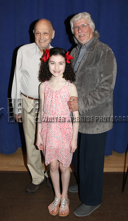 Charles Strouse, Martin Charnin & Lilla Crawford attending the Meet & Greet for 'ANNIE' at The New 42nd Street Rehearsal Studios in New York City on September 112, 2012