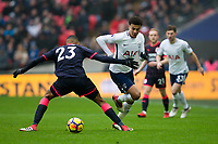 Tottenham Hotspur's Dele Alli nutmegs Huddersfield Town's Collin Quaner <br /> <br /> Photographer Craig Mercer/CameraSport<br /> <br /> The Premier League - Tottenham Hotspur v Huddersfield Town - Saturday 3rd March 2018 - Wembley Stadium - London<br /> <br /> World Copyright &copy; 2018 CameraSport. All rights reserved. 43 Linden Ave. Countesthorpe. Leicester. England. LE8 5PG - Tel: +44 (0) 116 277 4147 - admin@camerasport.com - www.camerasport.com