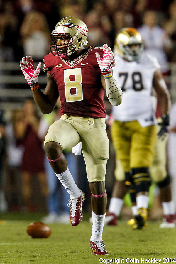 TALLAHASSEE, FLA. 10/18/14-FSU-ND101814CH-Florida State's Jalen Ramsey celebrates breaking up a Notre Dame pass that ended the Irish drive late in the second quarter and forced them to settle for a field goal, Saturday at Doak Campbell Stadium in Tallahassee. <br /> COLIN HACKLEY PHOTO