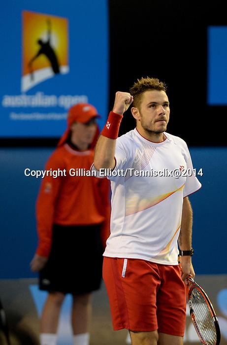 Stanislaus Wawrinka (SUI) defeats Novak Djokovic (SRB) at the Australian Open in Melbourne, Australia on January 21, 2014