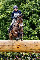 LEXINGTON, KENTUCKY - APRIL 29: High Kingdom #52, with rider Zara Tindall (GBR), clear an obstacle at Normandy Bank during the Cross Country Test at the Rolex Kentucky 3-Day Event at the Kentucky Horse Park on April 29, 2017 in Lexington, Kentucky. (Photo by Jesse Caris/Eclipse Sportswire/Getty Images)