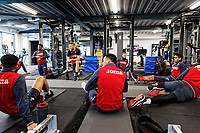 Players exercise in the gym during the Swansea City Training at The Fairwood Training Ground, Swansea, Wales, UK. Wednesday 21 February 2018