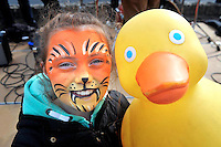 REPRO FREE 31-3-2013:<br /> Hundreds turn out for Think Big&rsquo;s Duck-a-thon in Tralee.<br /> <br /> Sophie Reidy (9) from Tralee pictured at the Think Big Headstrong Duck-a-thon on the canal in Tralee, County Kerry at the weekend. <br /> Over 500 people and over 500 ducks participated in a unique fundraising event for Headstrong called the Duck-a-thon in Tralee yesterday.  The Duck-a-thon is a fun fundraising event created to raise awareness about positive mental health in the local community. The idea was created by 17 year old local Dylan Hartnett who wanted to do something unique to positively benefit his local community as part of the Think Big programme. Over 500 rubber ducks were released into the Canal in Tralee yesterday and it took almost 20 minutes for the winner to cross the finish line.<br /> Speaking at the event, Dylan said: &ldquo;It&rsquo;s been a great success so far and we&rsquo;re delighted with the turn out today. I wanted to create something that was fun and captured peoples imagination and as far as I know this is the first time anything like this has been done in Tralee. A big thank you to all those involved who&rsquo;ve helped me organise today and we look forward to donating all funds from the event to Headstrong&rdquo;.<br />  <br /> Pictured here at the event were <br />  <br /> Think Big is a programme to inspire young people around the country to promote positive mental health in their local community.  Think Big was created by O2 in partnership with Headstrong and is open to any young person in the Republic of Ireland, aged between 14 and 25, with an idea for a project that will make a difference to young people&rsquo;s mental health. In addition to funding, each Think Big project group gets support from O2 and Headstrong in the form of mentoring and training to help them to bring their project to life.  Projects are encouraged to incorporate digital and social media elements.  <br />  www.o2thinkbig.ie<br />  For further informatio